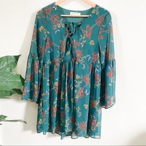 Dark teal Floral bell sleeve tunic top